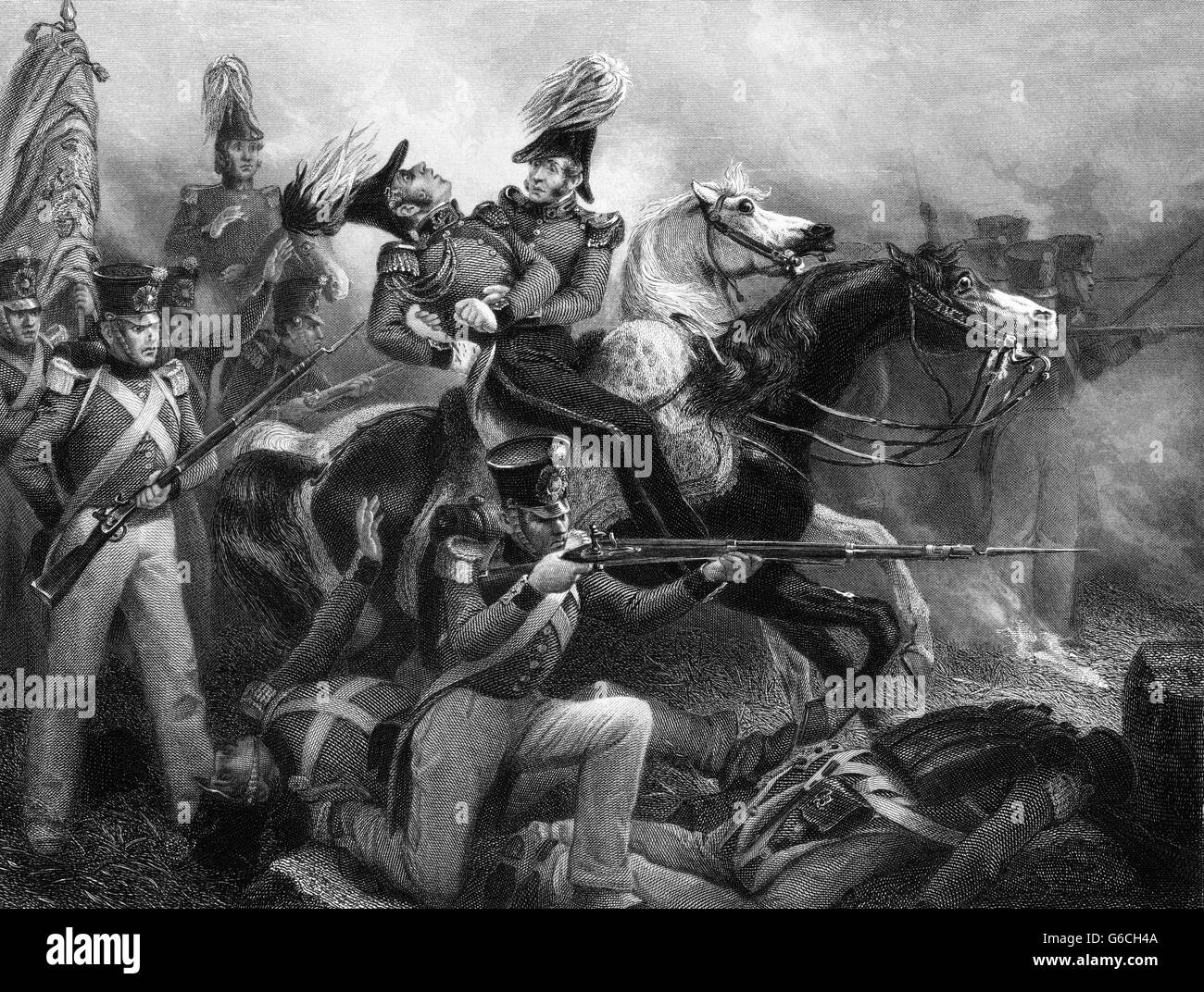 1810s DEATH OF GENERAL ROSS AT BALTIMORE ON HORSEBACK SEPTEMBER 1814 DURING WAR OF 1812 BRITISH TROOPS - Stock Image