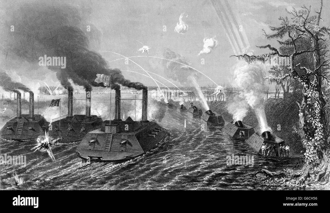 1860s SIEGE & BOMBARDMENT ISLAND NUMBER 10 GUN AND MORTAR BOATS AT KENTUCKY BEND OF MISSISSIPPI RIVER FEBRUARY - Stock Image