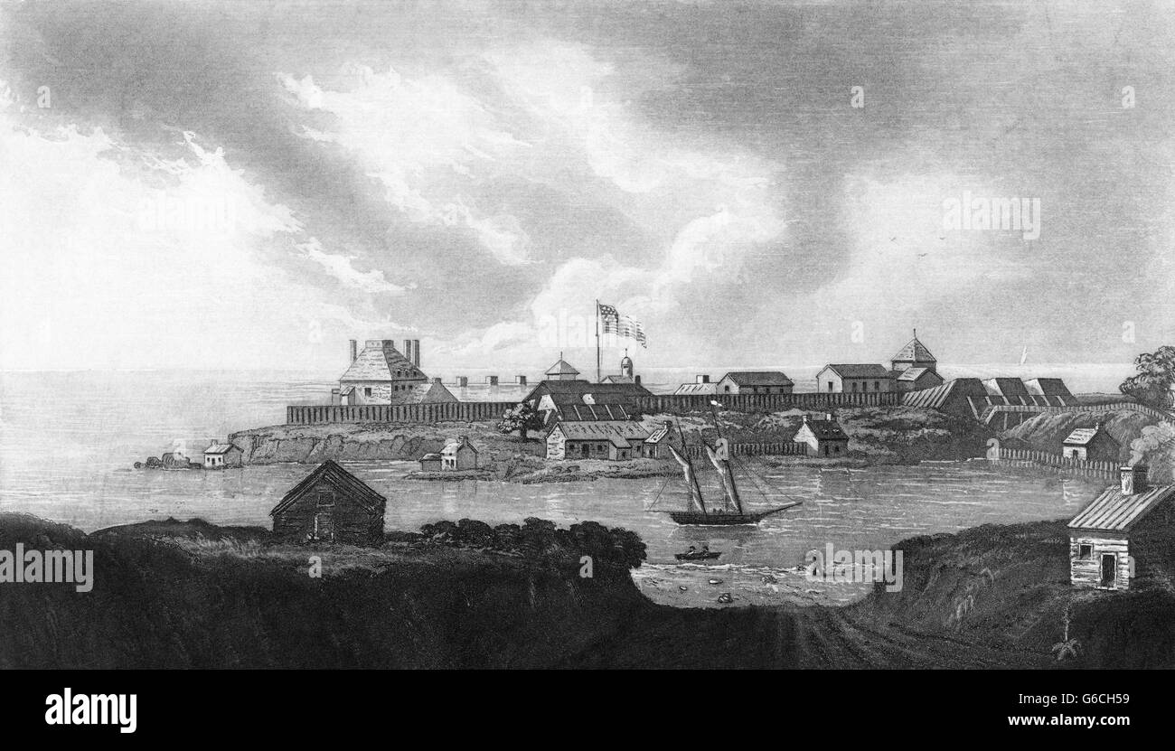 1810s FORT NIAGARA TAKEN FROM THE BRITISH SIDE OF THE RIVER AT NEWARK 1814 DURING THE WAR OF 1812 - Stock Image