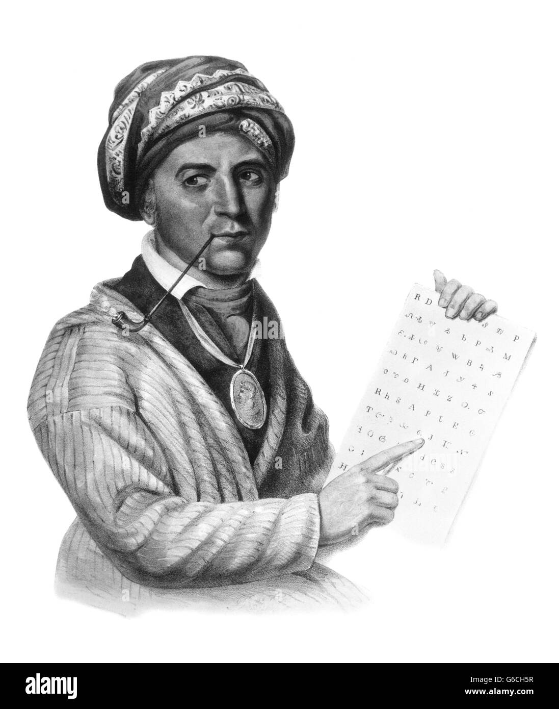 1790s 1800s PORTRAIT OF SEQUOYAH FAMOUS CHEROKEE INDIAN WHO INVENTED CHEROKEE SYLLABARY FROM PAINTING BY CHARLES - Stock Image