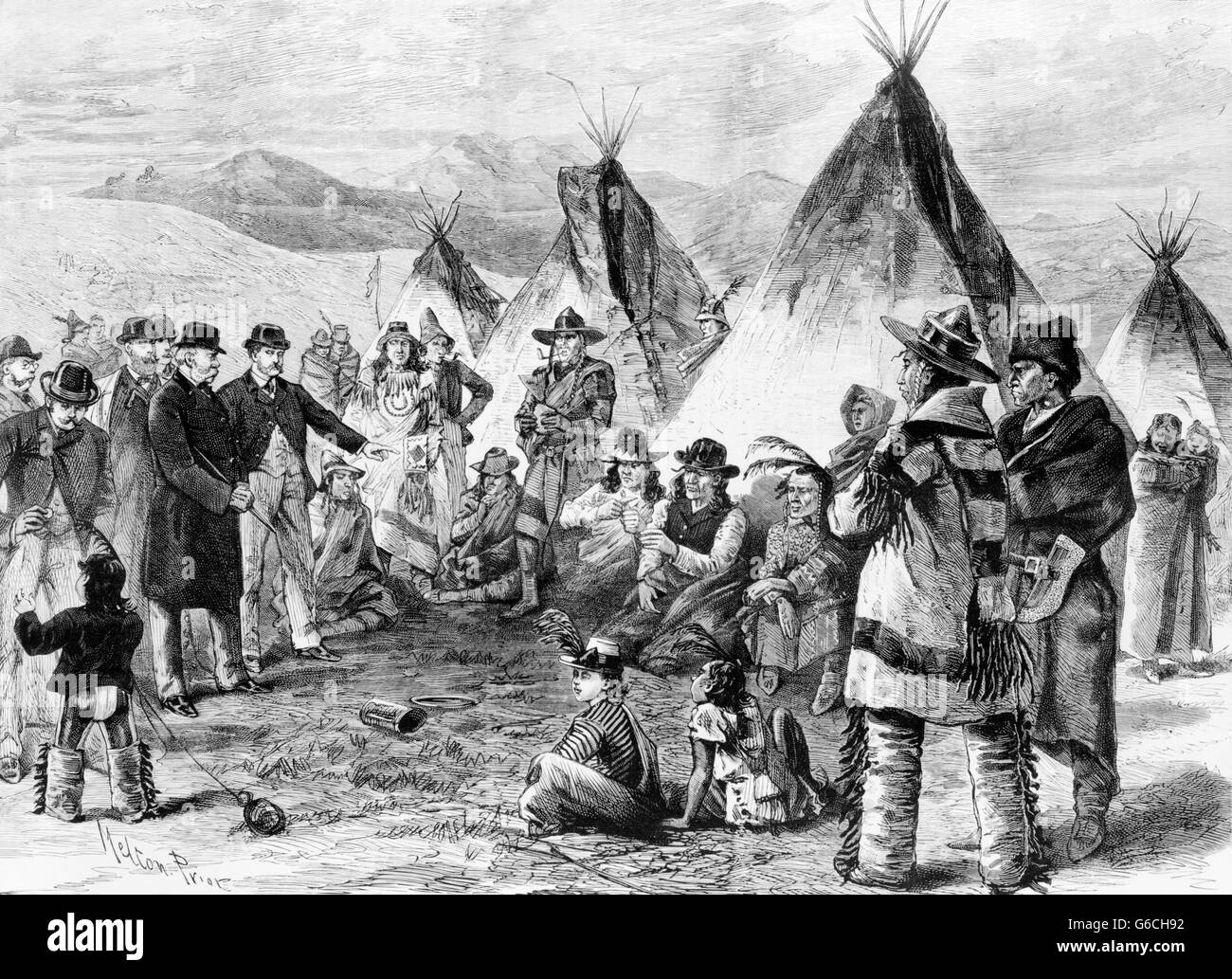 1890s US GOVERNMENT OFFICIALS MEETING WITH SIOUX & CHEYENNE WHO HAVE LEFT THEIR TERRITORY WITHOUT PERMISSION - Stock Image