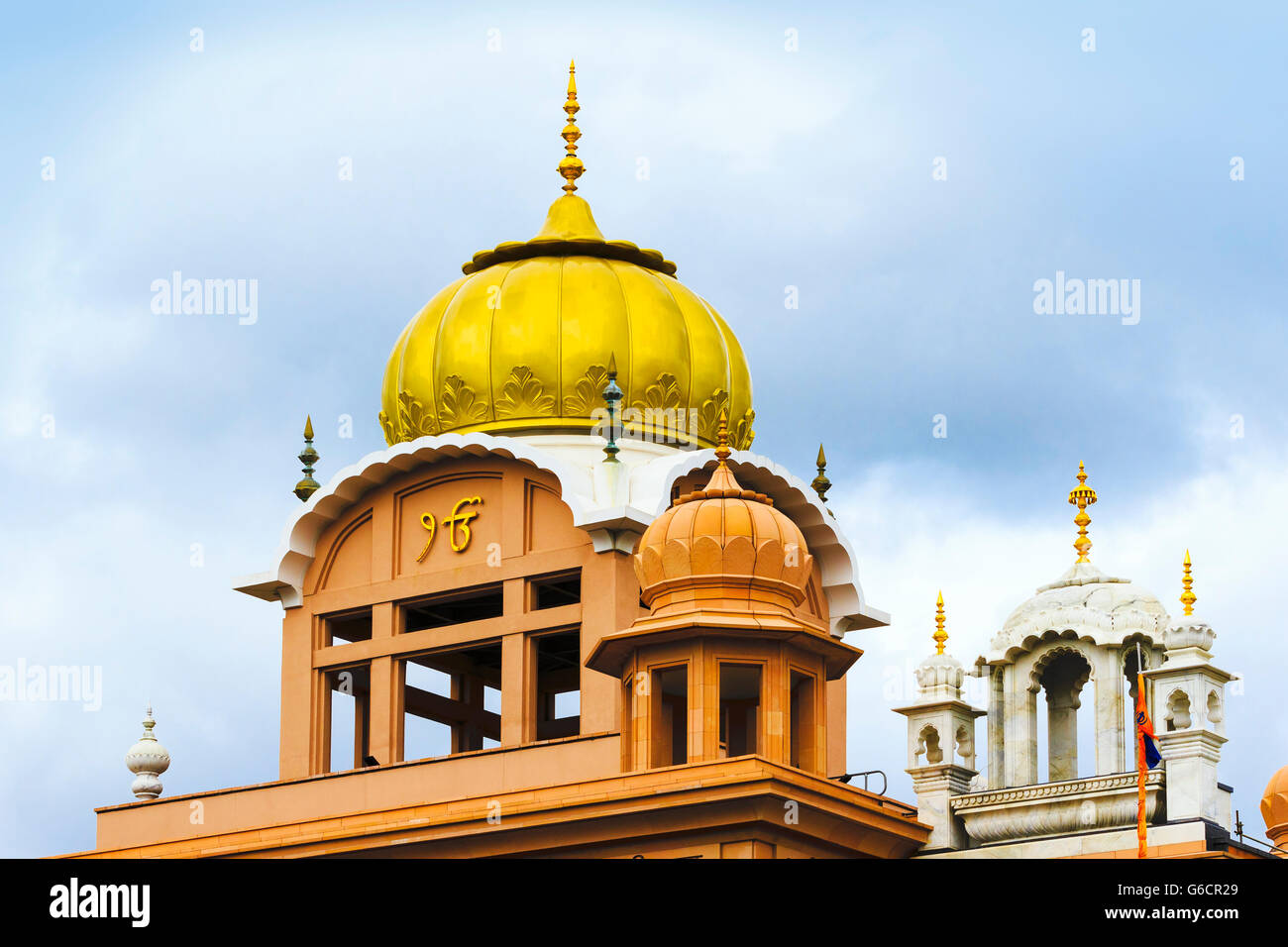 Golden dome of the Central Gurdwara Centre,  Glasgow, Scotland, UK - Stock Image