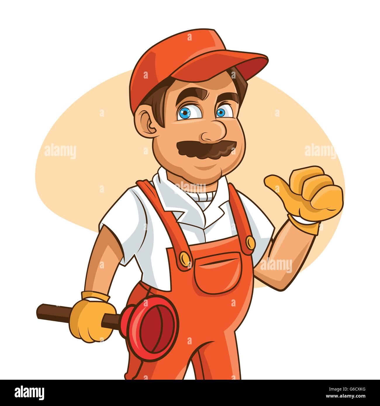 plumbing service plumber cartoon design vector graphic stock