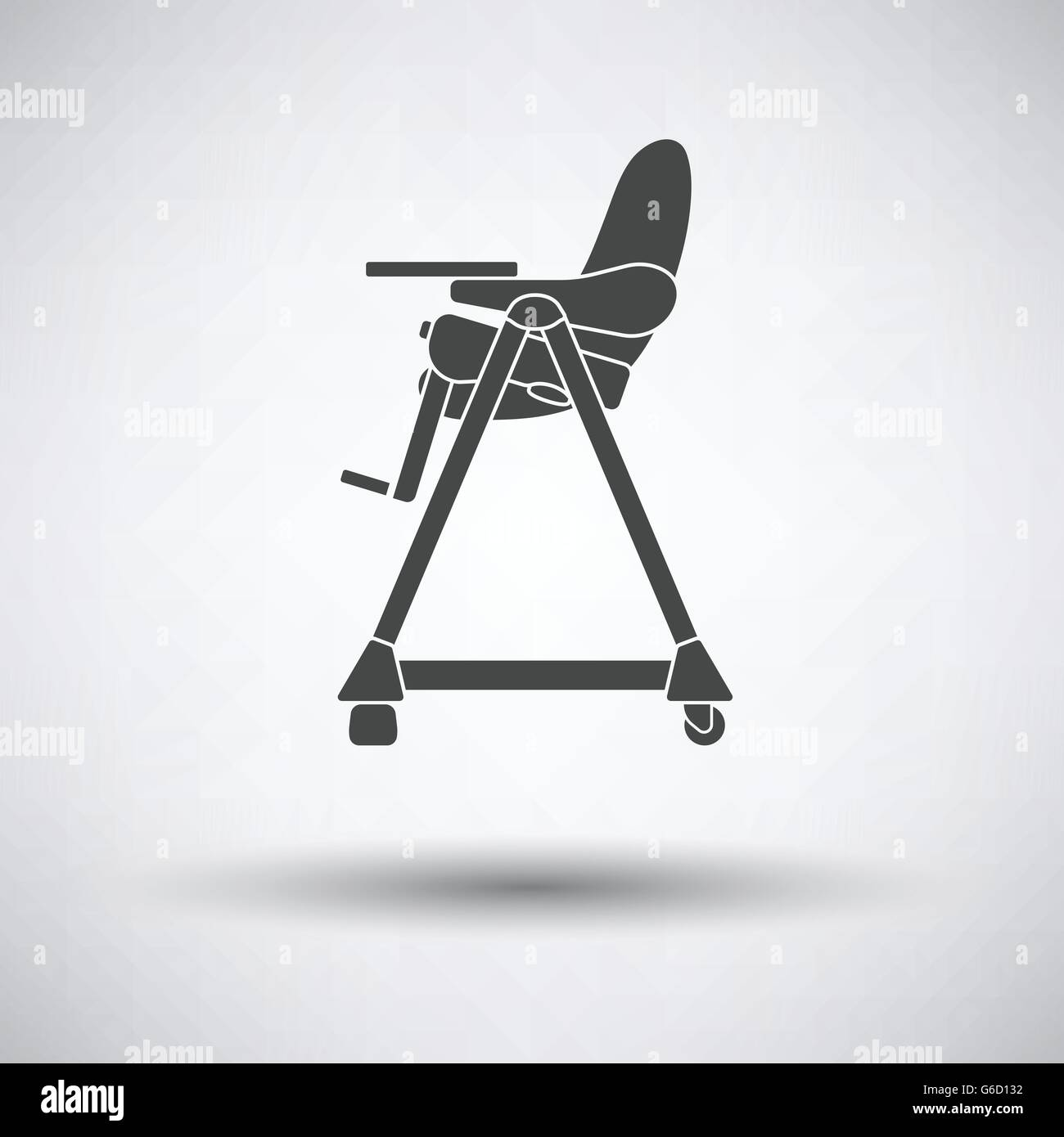 Baby high chair icon on gray background, round shadow. Vector Stock ...
