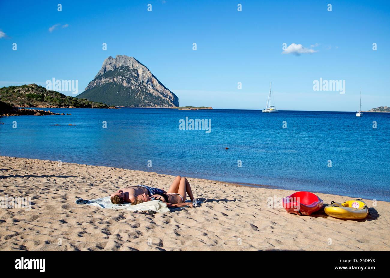 The Beach At Porto Paolo Sardinia Italy - Stock Image