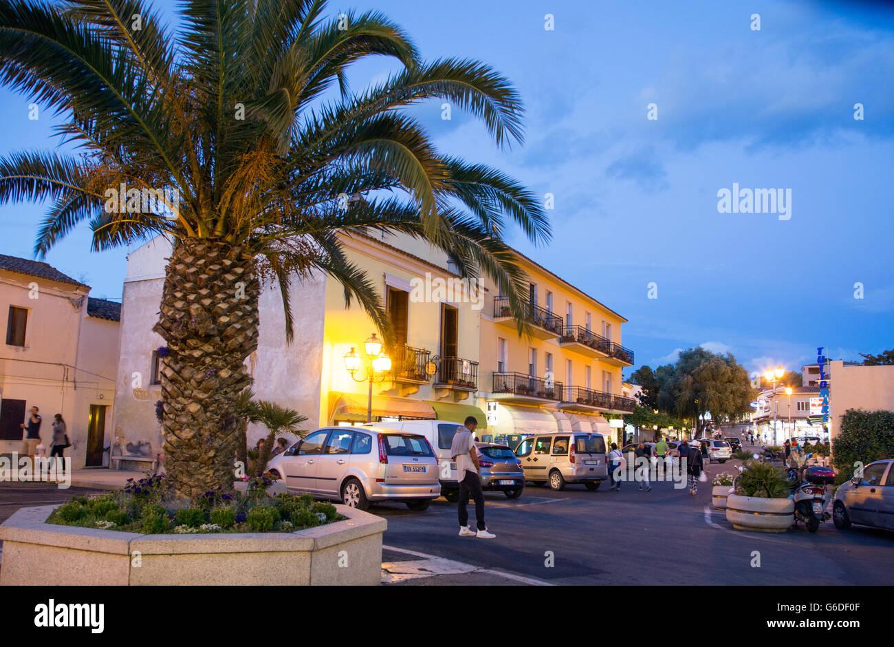 San Teodoro at Night Sardinia Italy - Stock Image