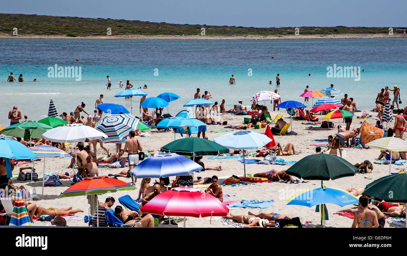 People and Sunshades on Stintino Beach Sardinia Italy - Stock Image