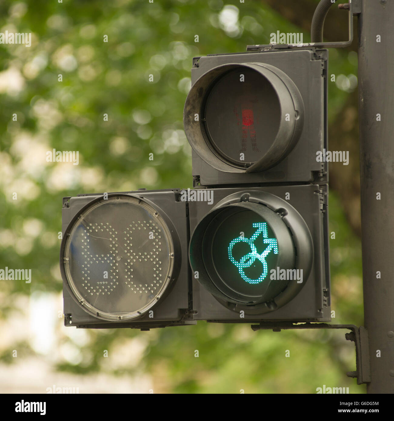 Pedestrian crossing light around London's Trafalgar Square. The signals have been modified by TFL to celebrate - Stock Image