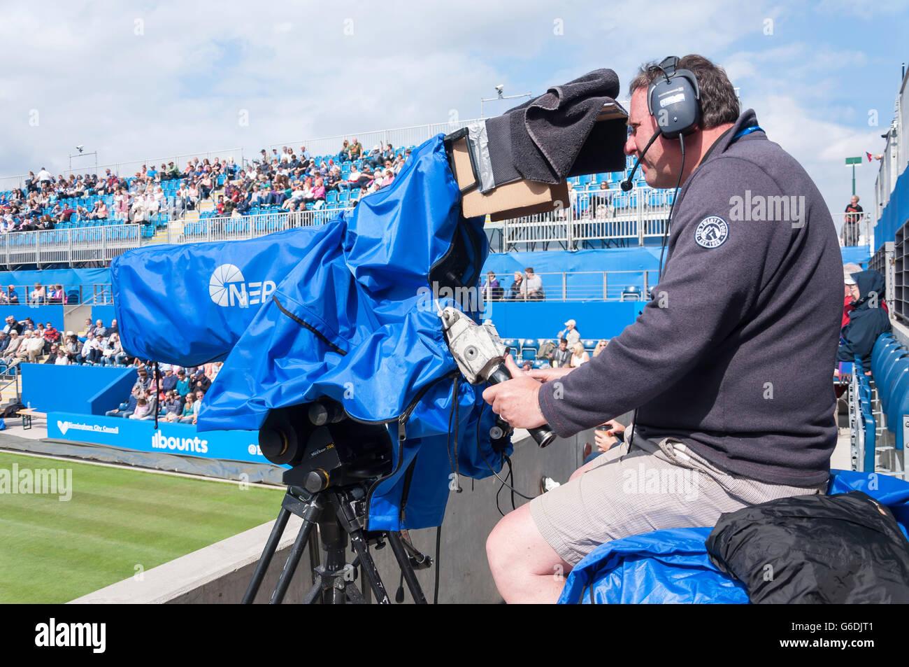 Television cameraman at The Aegon Classic Birmingham, Edgbaston, Birmingham, West Midlands, England, United Kingdom - Stock Image