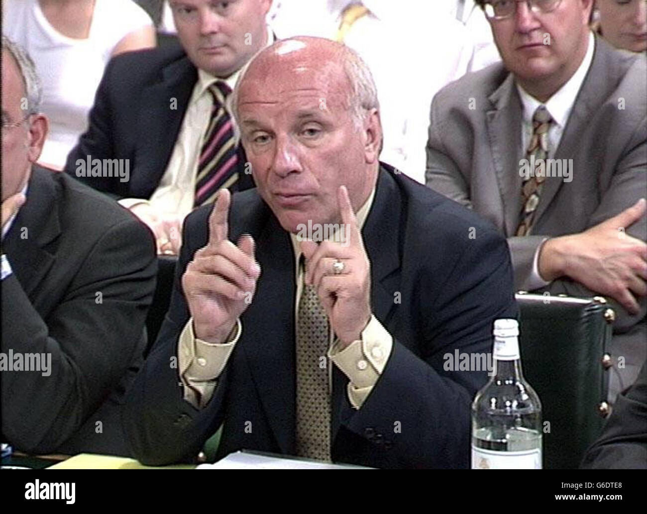 BBC director general Greg Dyke appears before the Culture, Media and Sport select committee. The BBC refused to comment on the contents of its annual report, which are meant to remain secret until put before the committee. But there has been widespread speculation on what it will reveal, including the state of the broadcaster's finances. A 1 billion deficit in the BBC's pension fund was revealed earlier this month when director of finance John Smith wrote to workers to reassure them that the final-salary scheme would remain in place, despite the shortfall. Stock Photo