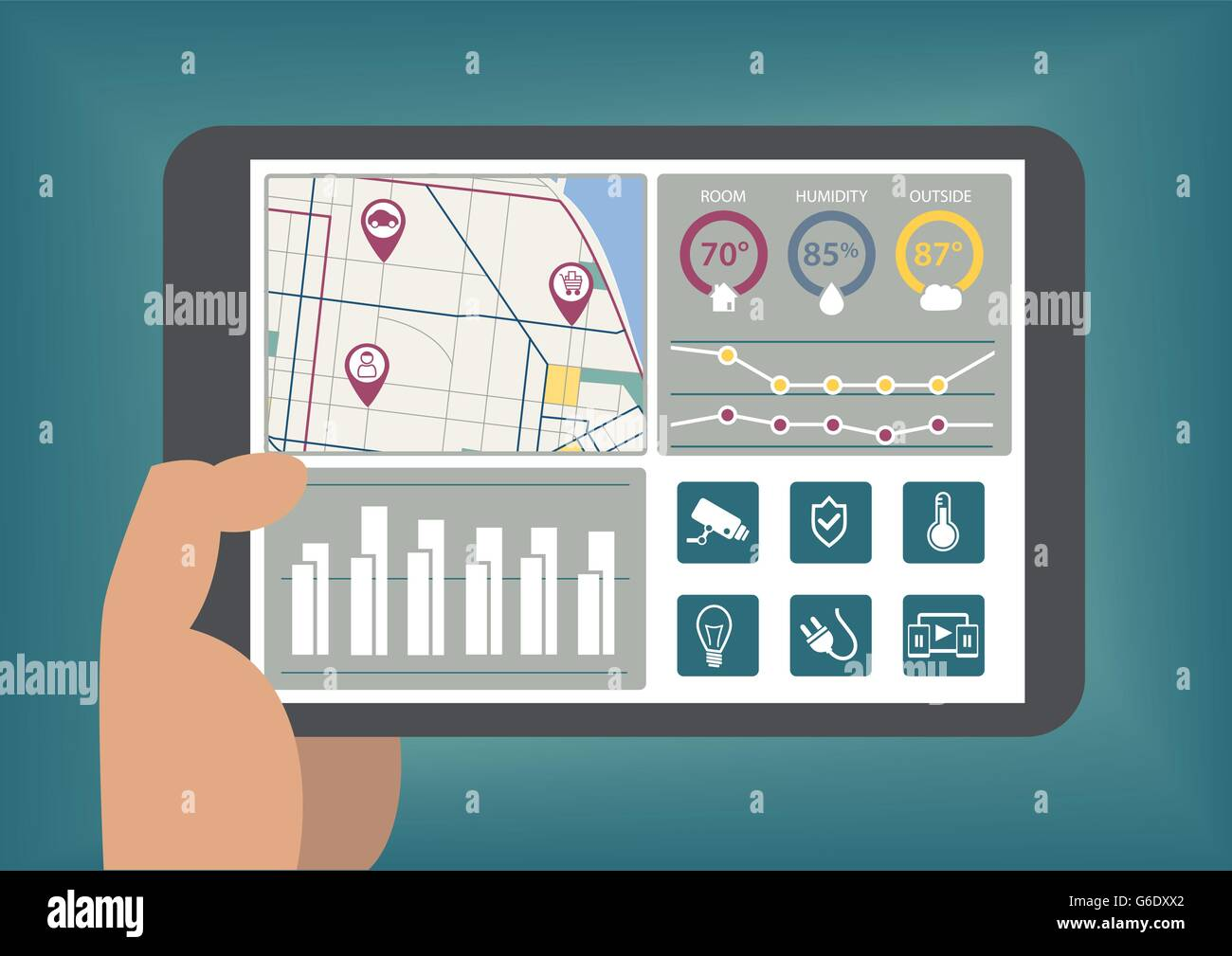 Hand holding tablet with smart home automation dashboard as vector illustration - Stock Image