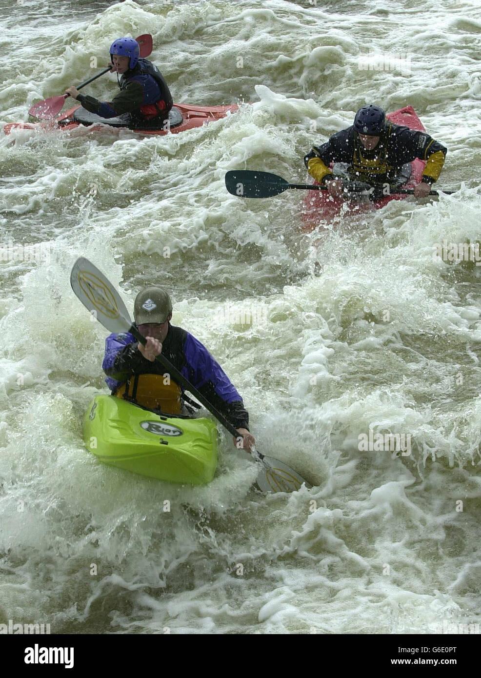 Thames white water rapids - Hambleden Weir - Stock Image