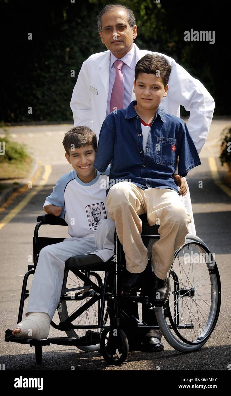 Iraq war victims - Hamza and Abbas in London - Stock Image