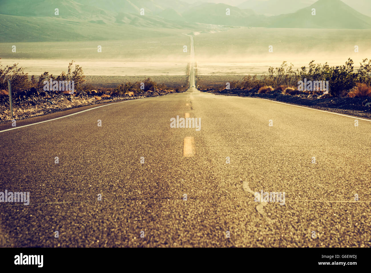 desert road in Death Valley, California, USA - Stock Image