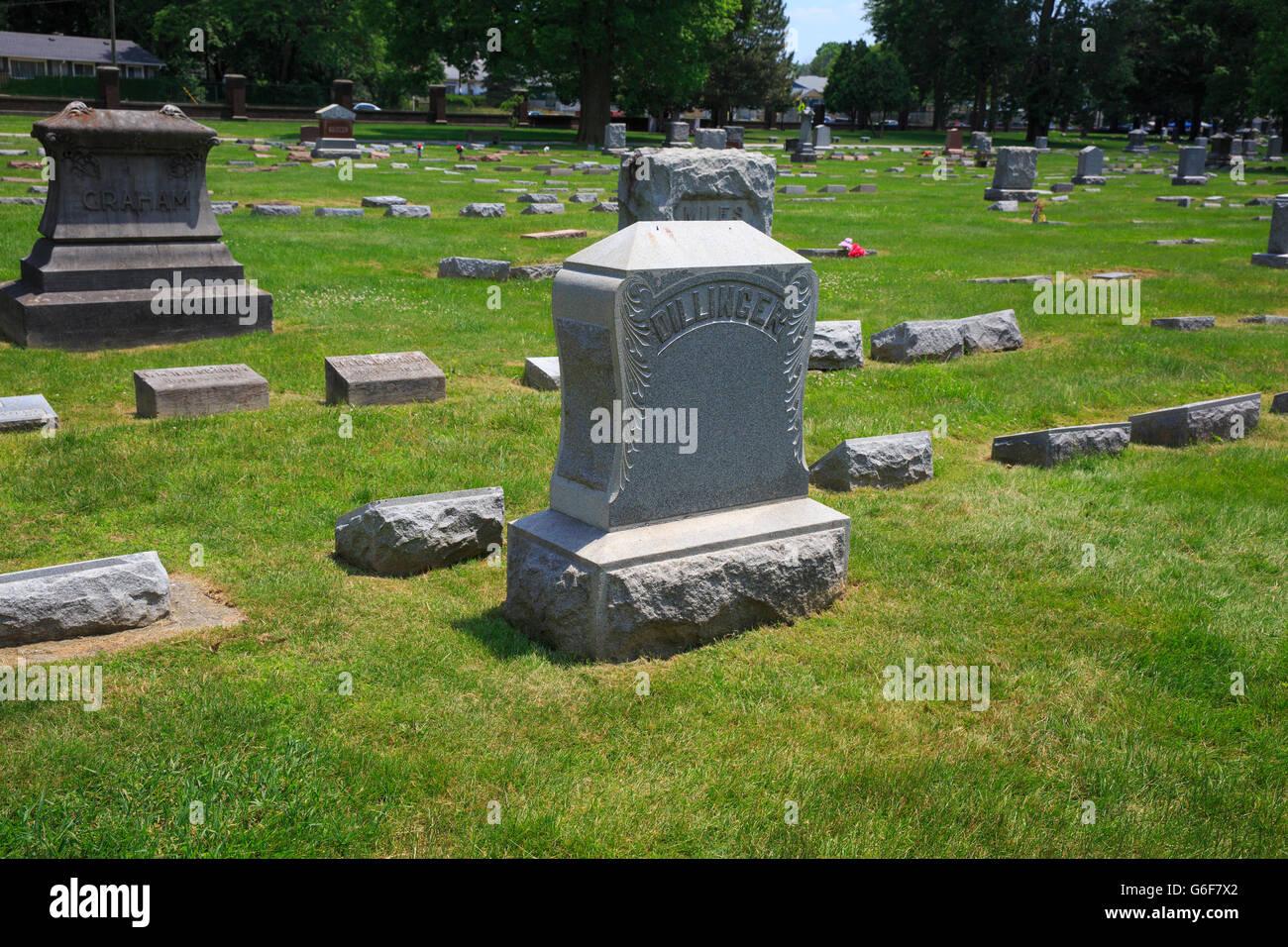 Family headstone of the family of John Herbert Dillinger, American bank robber. - Stock Image