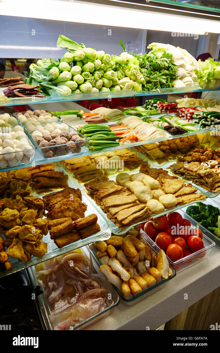 Yong Tau Foo, a vegetarian selection at a Hawker Stall in Singapore. - Stock Image
