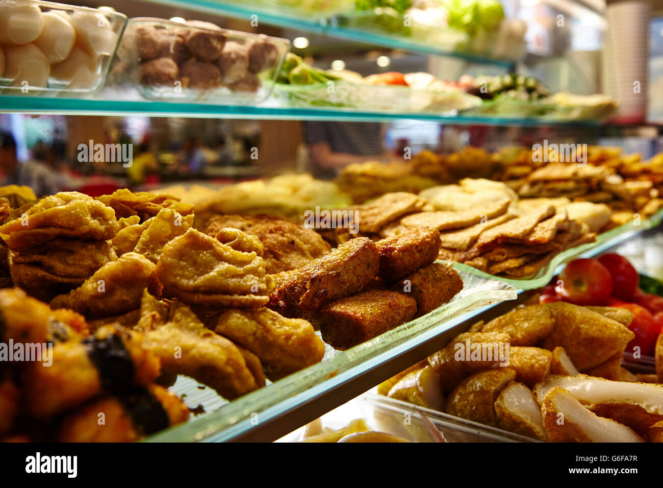 Close up of Yong Tau Foo, a vegetarian selection at a Hawker Stall in Singapore. - Stock Image