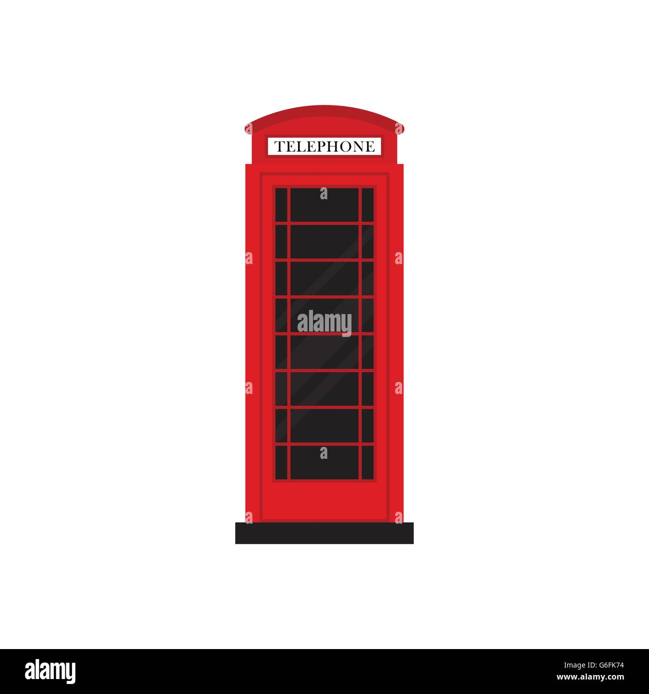 Red retro phone booth flat design vector illustration - Stock Image
