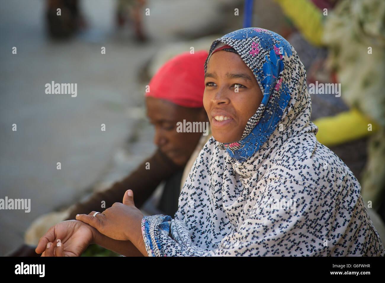 Harari woman in muslm hadcloth. Harar, Ethiopia - Stock Image
