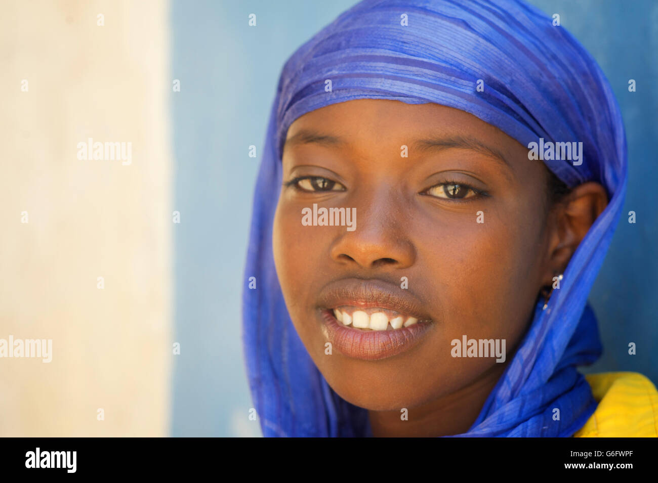 Muslim girl in a headcloth, Harar, Ethiopia - Stock Image