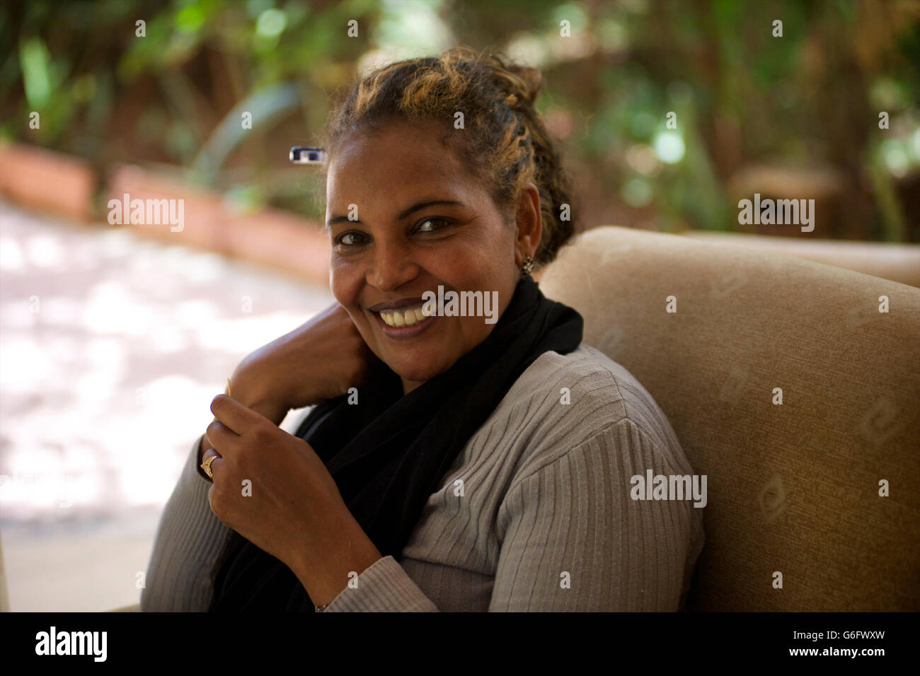 POrtrait of an Ethiopian woman smiling. Harar, Ethiopia - Stock Image