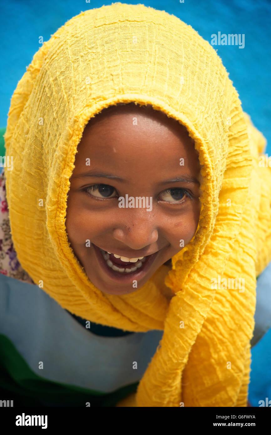 Harari muslim girl, Harar, Ethiopia - Stock Image