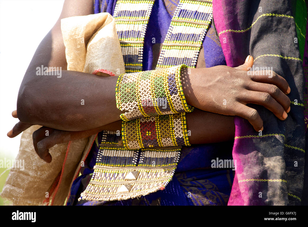Detail of Afar tribal adornment. Beadwork. Yangudi Rassa National Park, Ethiopia - Stock Image