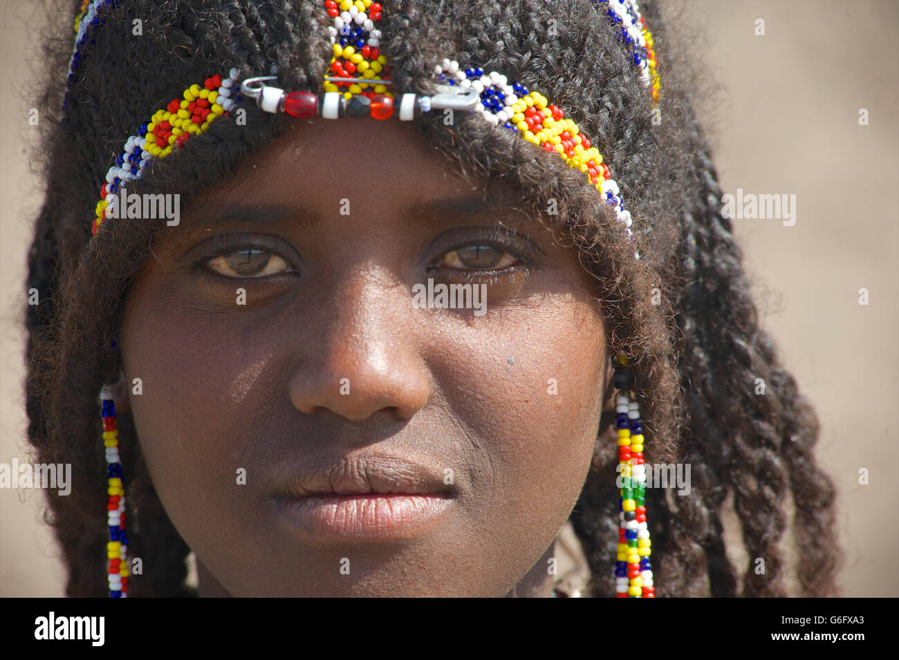 The elaborate hairstyle of an Afar girl. The nomadic Afar  live in the low-lying deserts of Eastern Ethiopia. Welo - Stock Image