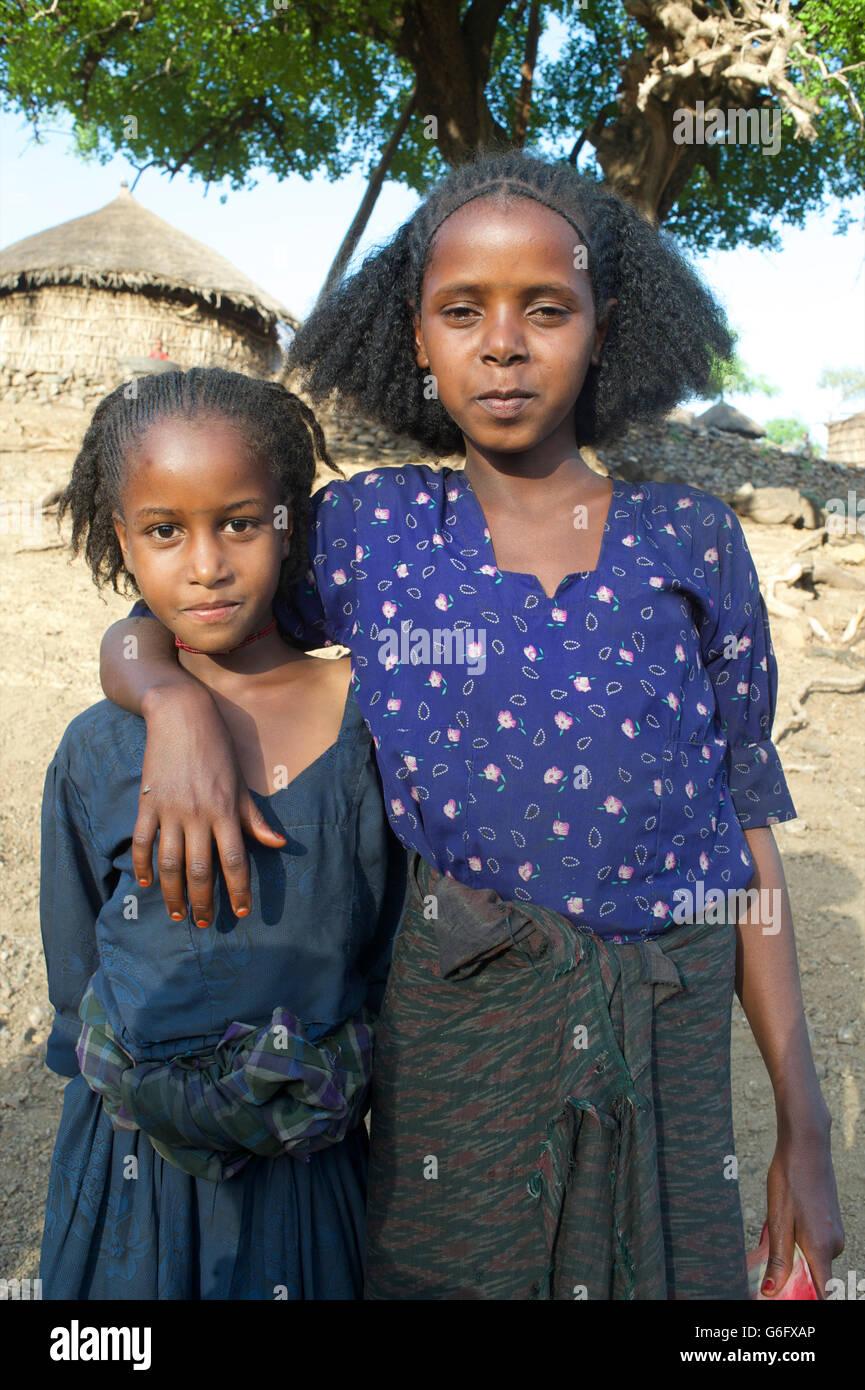 Ethiopian sisters  Small rural community near Bati, Oromia