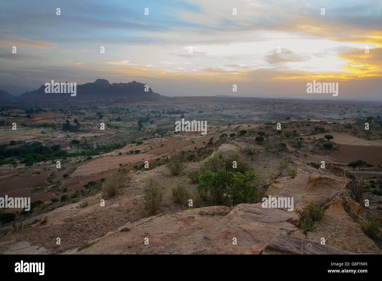 Gheralta mountains seen from the Gheralta lodge, near Hawzen, Tigray, Ethiopia - Stock Image