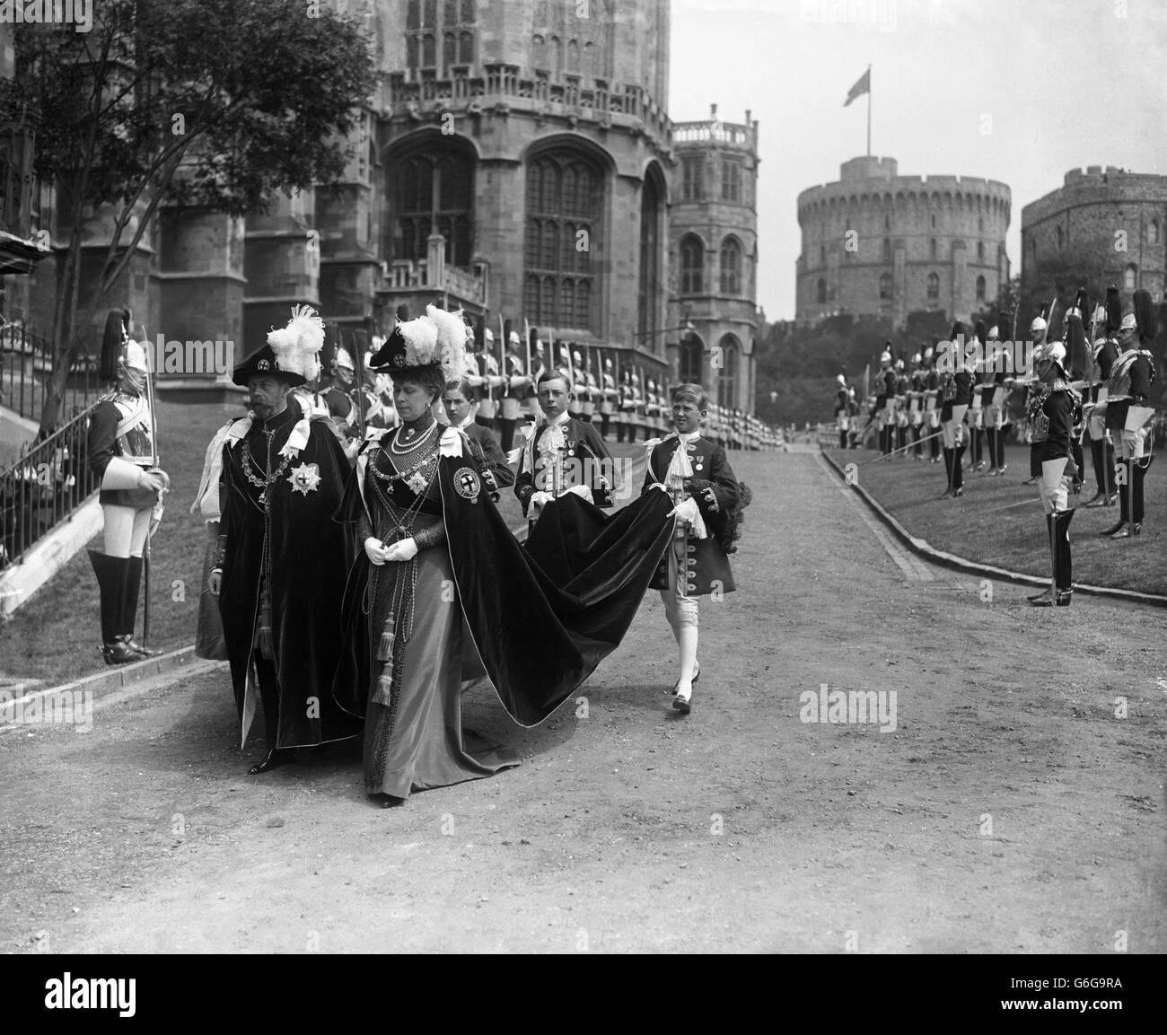Royalty - King George V - Order of the Garter Procession - Windsor Castle - Stock Image