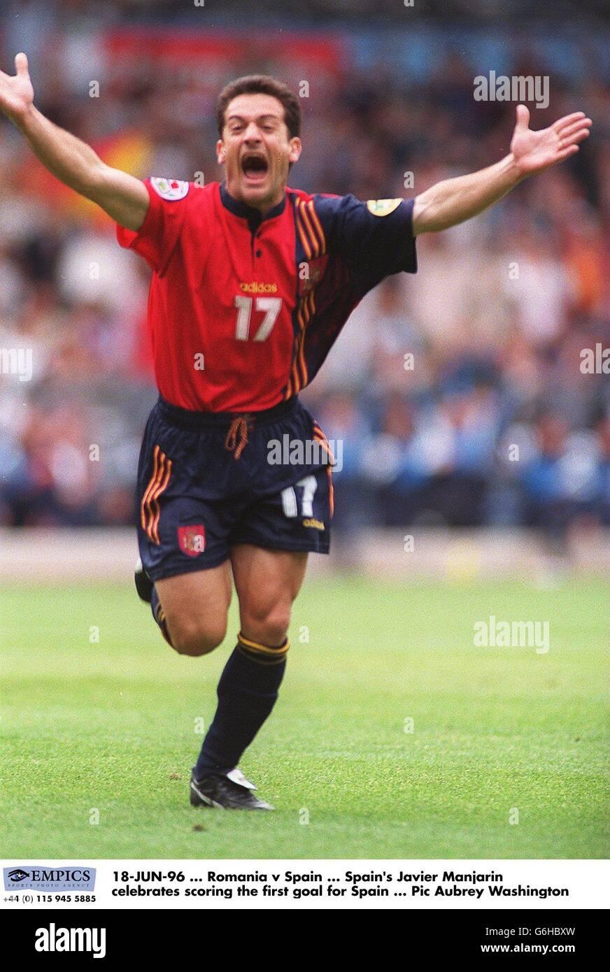 Spain's Javier Manjarin celebrates scoring the first goal for Spain Stock Photo