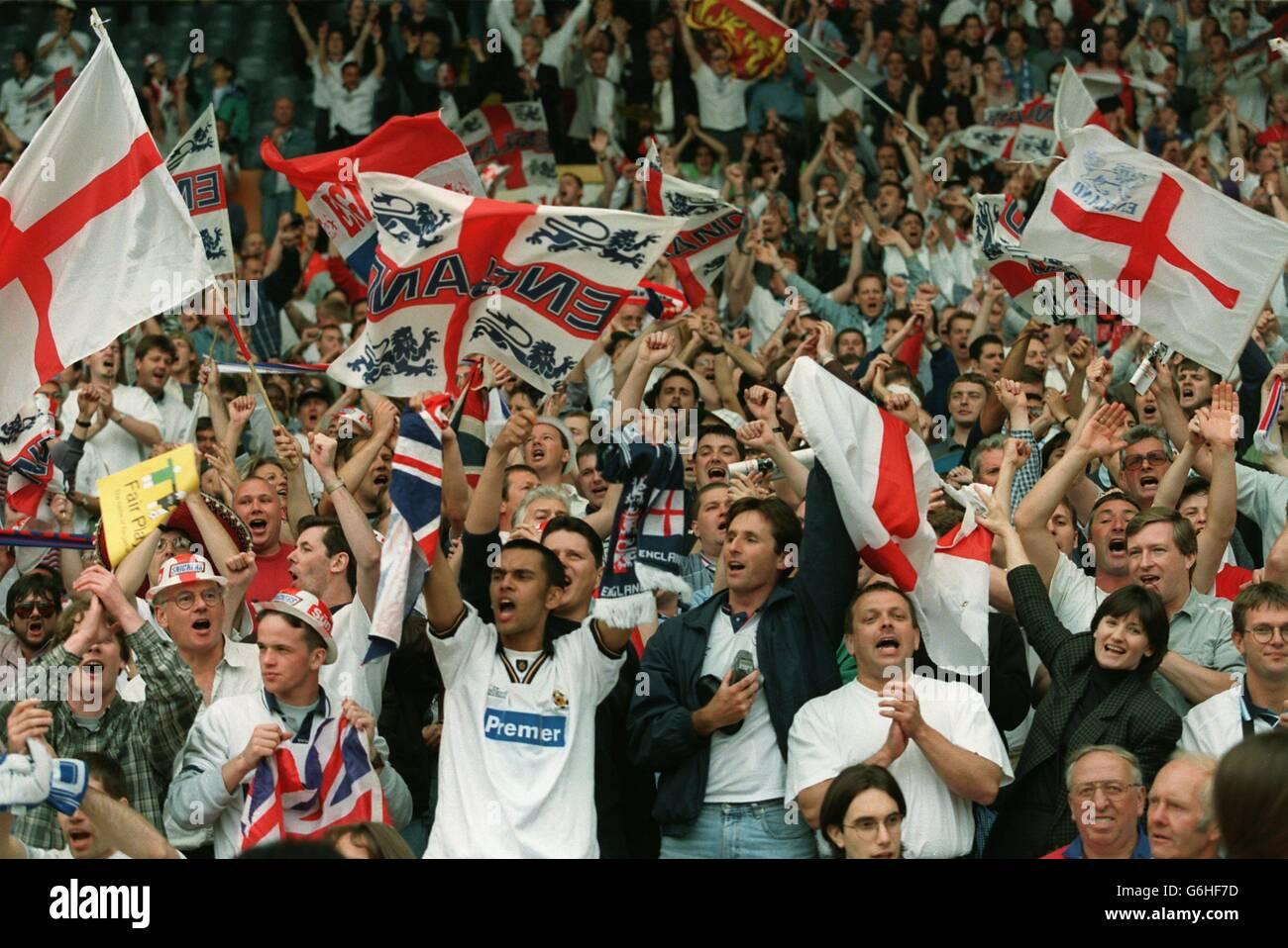 SOCCER - Euro 96 -England v Spain, Wembley Stock Photo