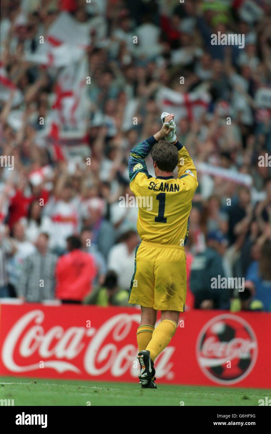 22-JUN-96 ..England v Spain ... England's David Seaman salutes the crowd Stock Photo