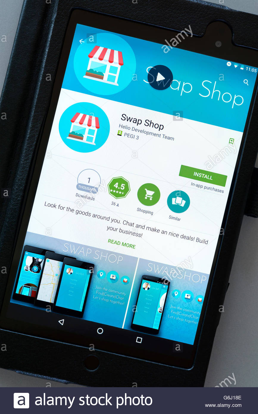 Swap Shop app shown on a tablet computer, Dorset, England, UK Stock