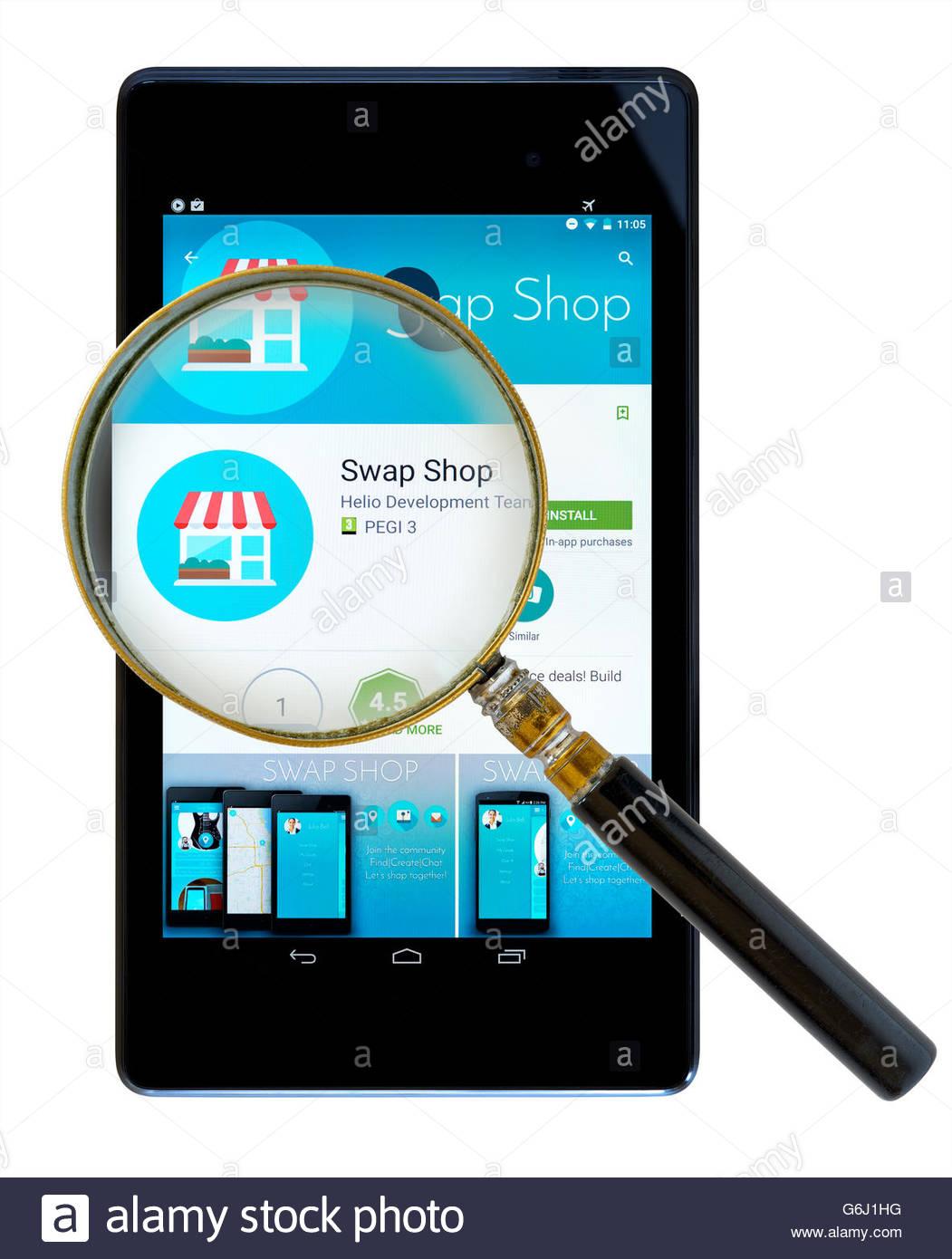 Swap Shop app shown on a tablet computer, Dorset, England