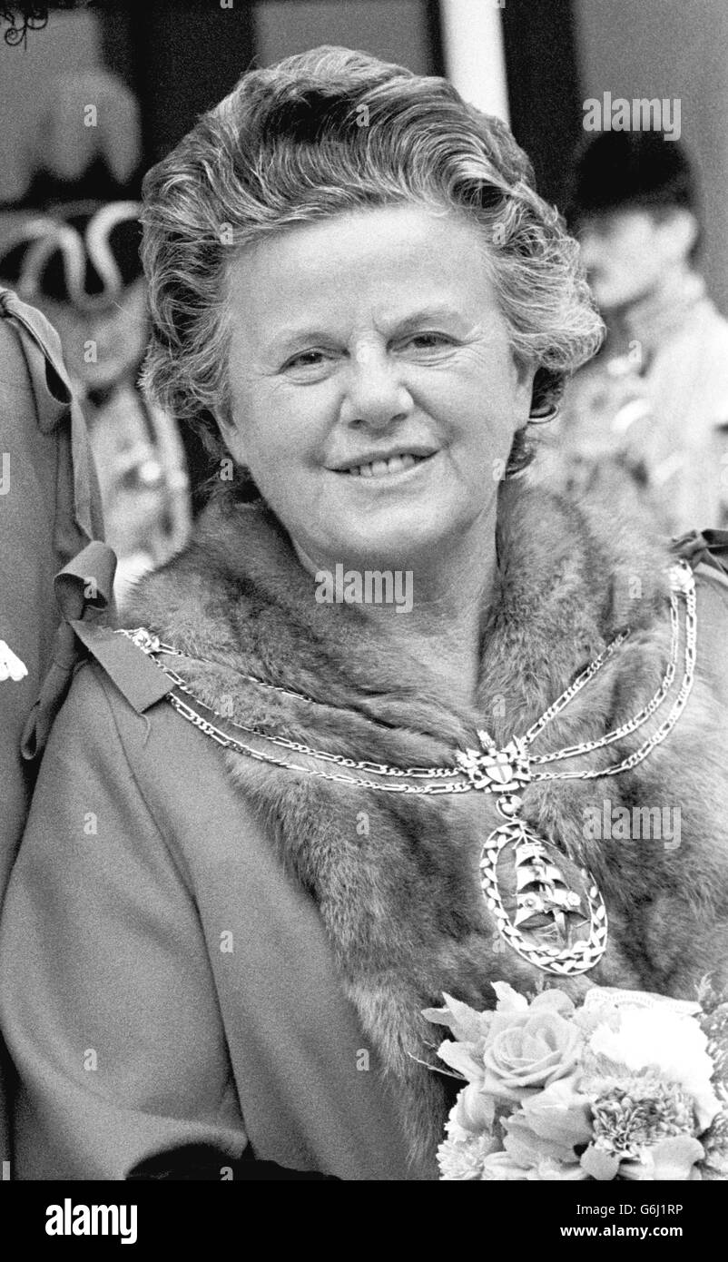 First Woman Lord Mayor of London - Dame Mary Donaldson - 1983 - Stock Image