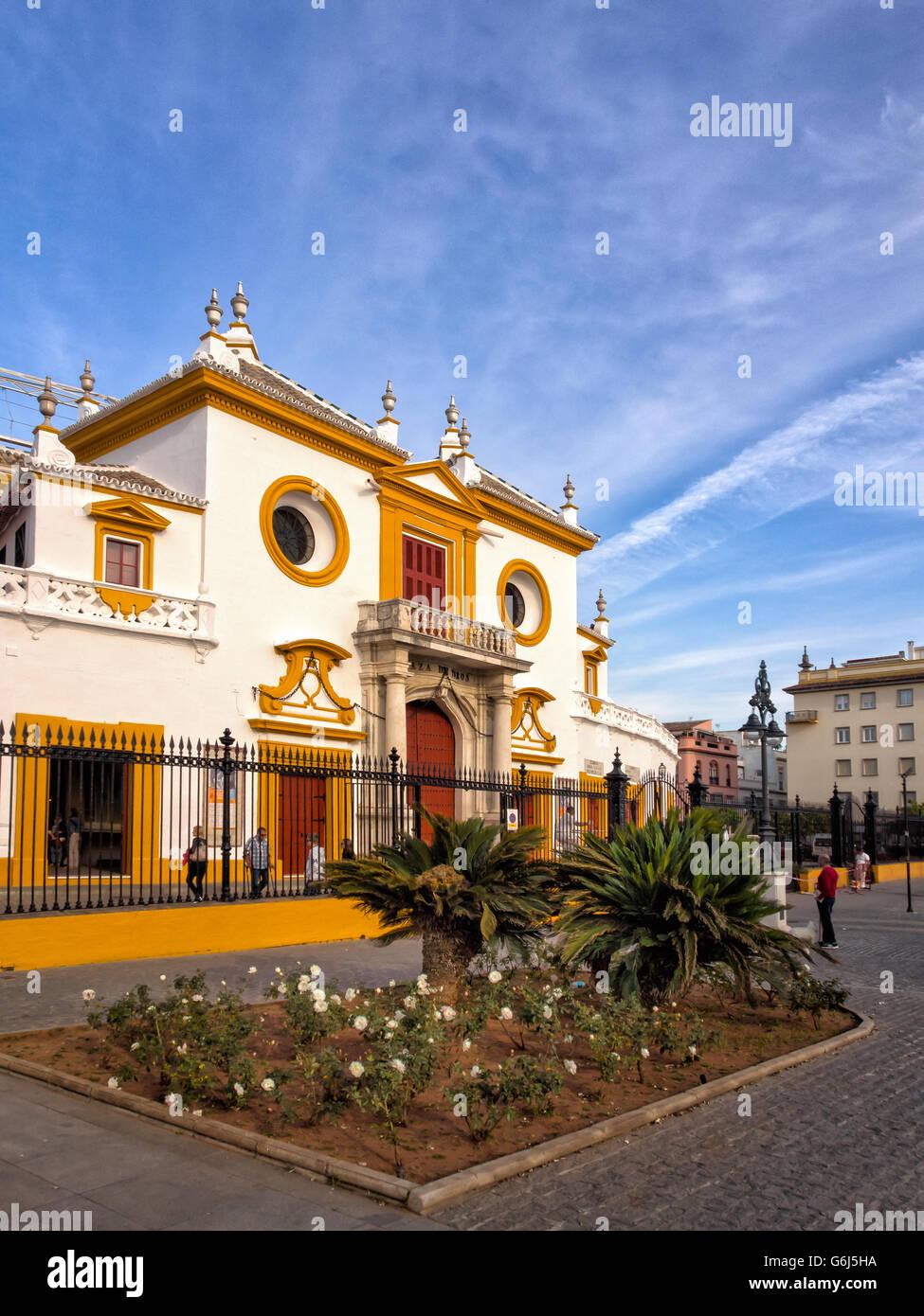 SEVILLE, SPAIN:  View of Real Maestranza de Caballeria de Sevilla Bullring Stock Photo