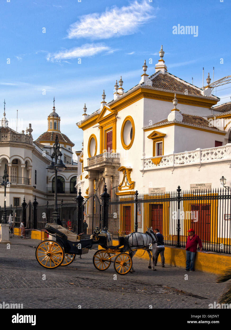 SEVILLE SPAIN:  View of Real Maestranza de Caballeria de Sevilla Bullring - Stock Image
