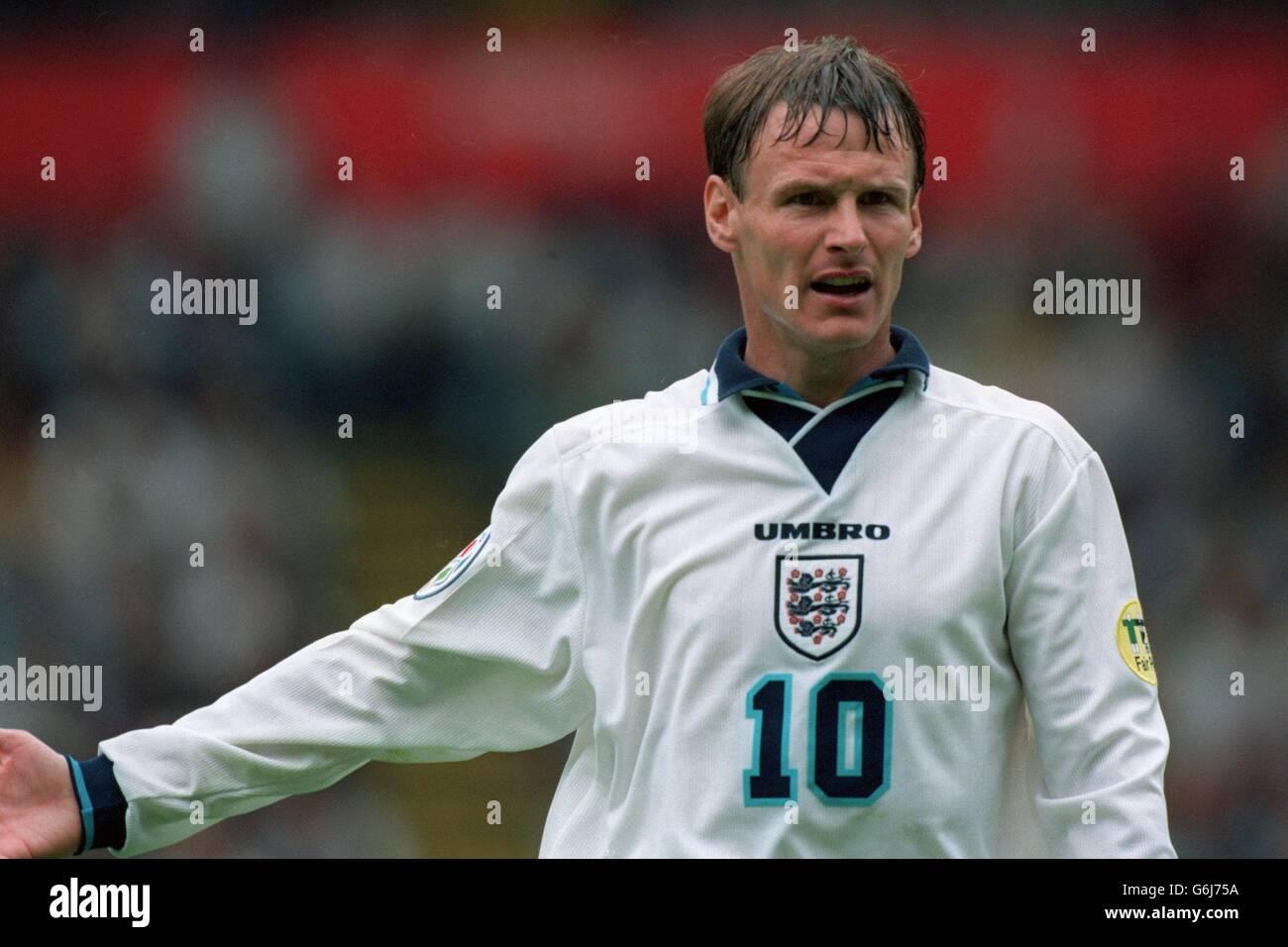 Soccer, Euro 96. England v Spain, Wembley. Teddy Sheringham, England Stock Photo