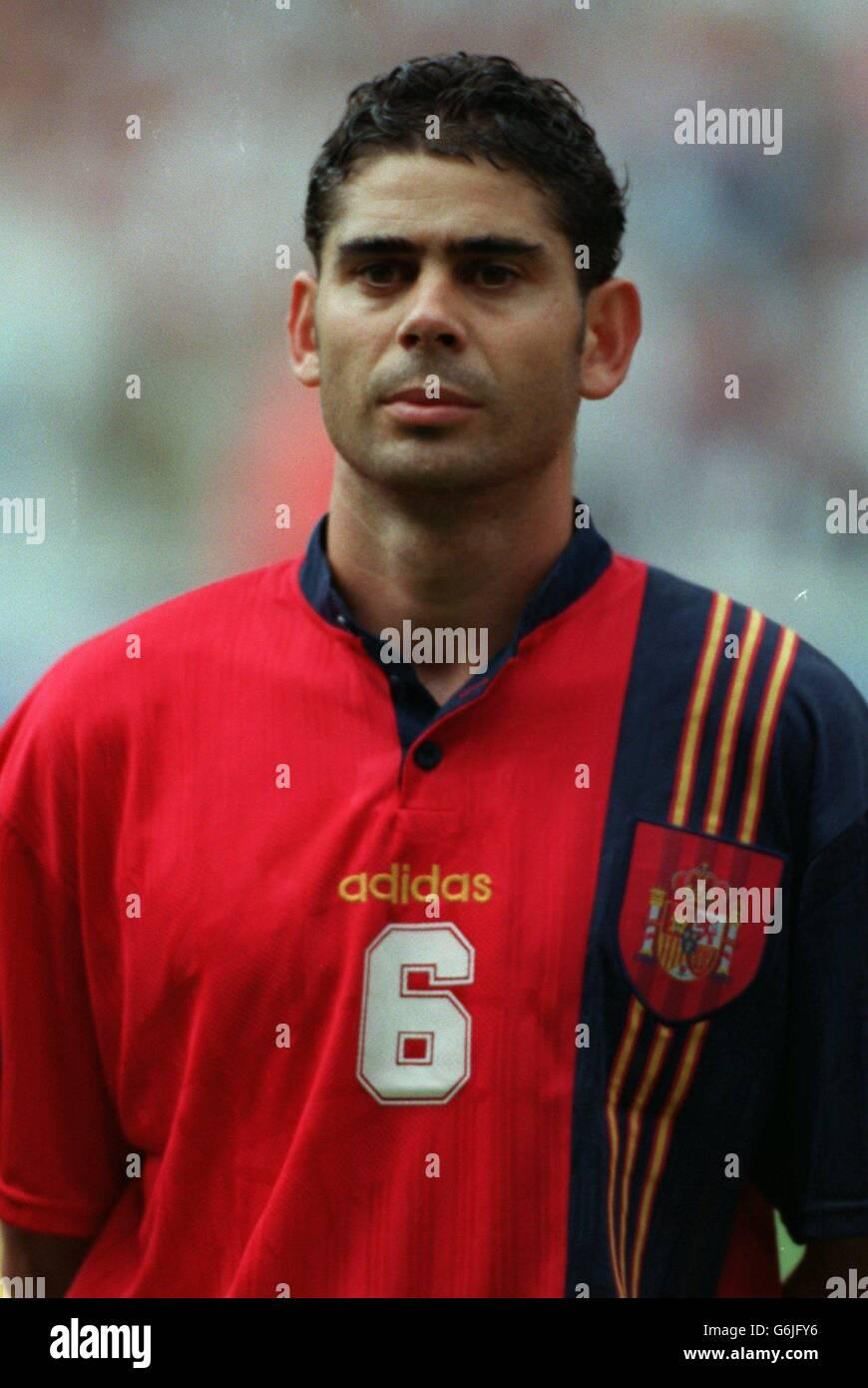 Soccer - Euro 96 - Quarter Final - England v Spain. Fernando Hierro, Spain Stock Photo