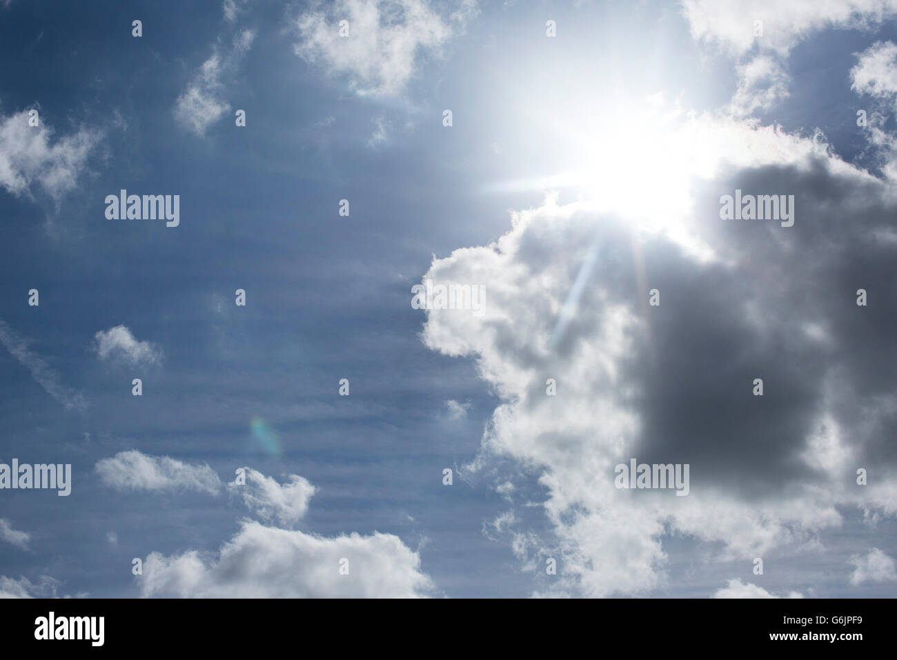 Sunny sky with clouds - Stock Image