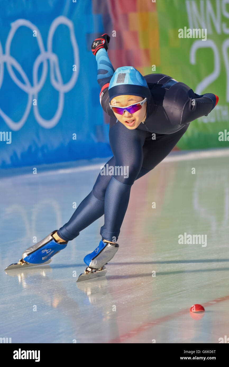 Clare Joeng, USA, places 8th in the ladies' 3000m speed skating event, Youth Olympic Games, YOG 2012, Innsbruck, - Stock Image
