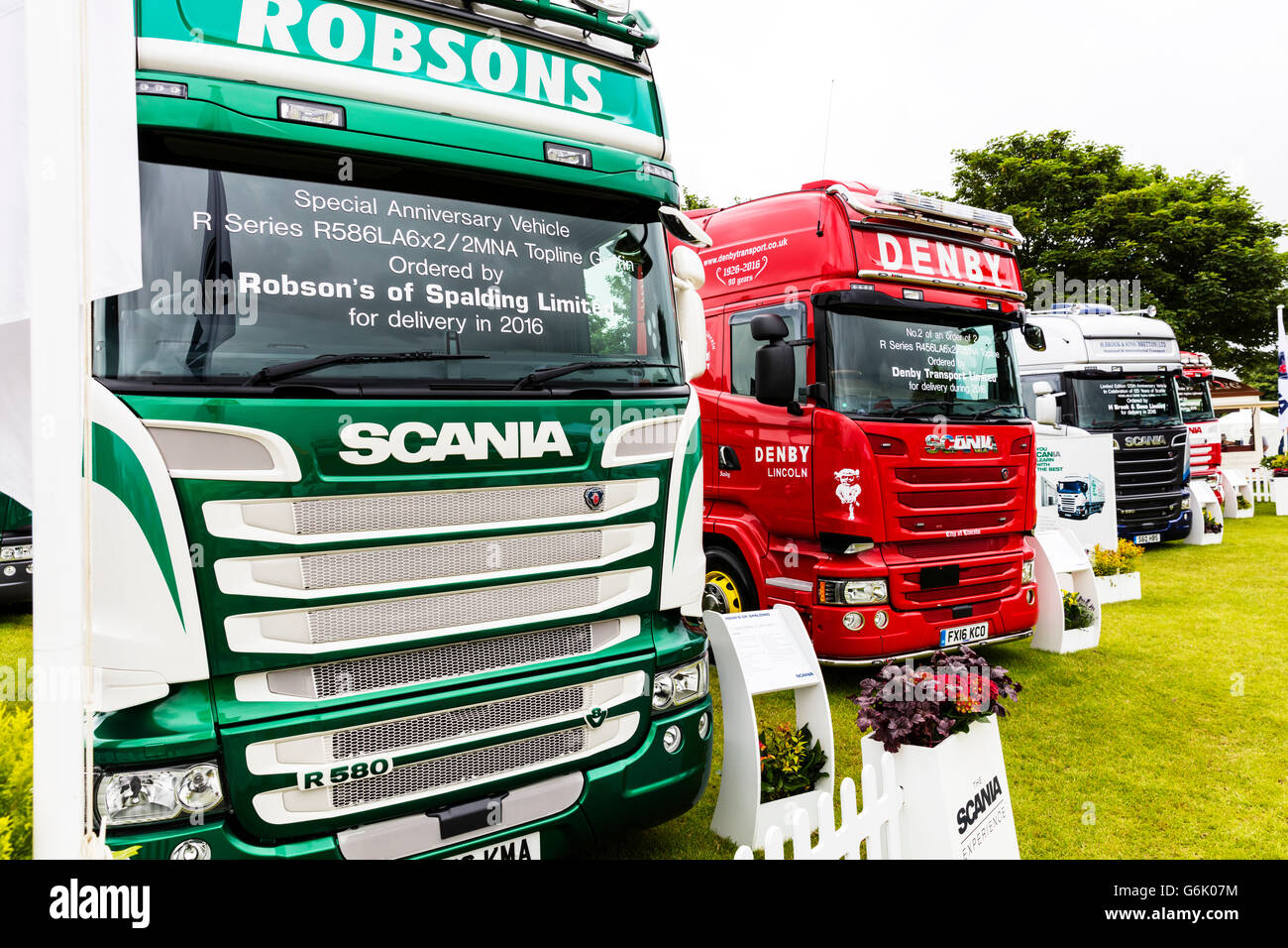 Scania lorry's trucks lorry truck cab cabs front fronts vehicle vehicles cab over design display at trade fare - Stock Image