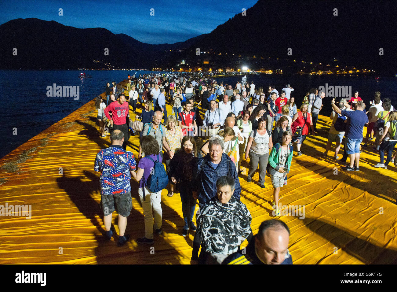 Lake Iseo, Italy. Lombardy Christo Vladimirov Yavachev realized The Floating Piers linking Sulzano with Montisola - Stock Image