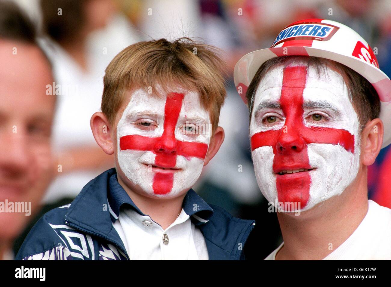 Soccer, Euro 96. England v Spain, Wembley. Young England fan with father Stock Photo