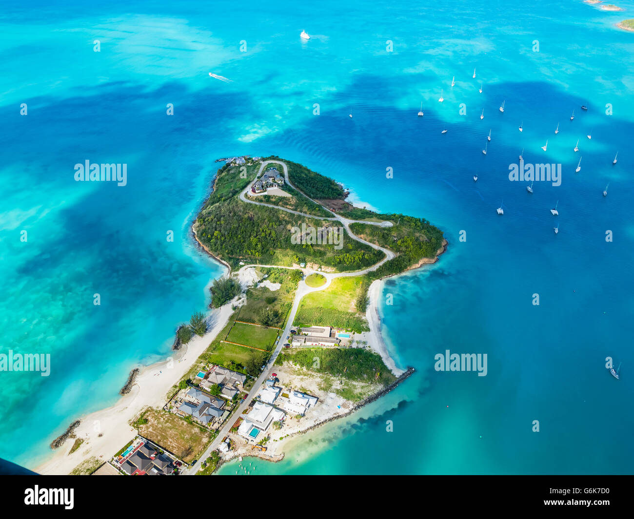 West Indies, Antigua and Barbuda, Antigua, aerial view, Jolly Harbour - Stock Image