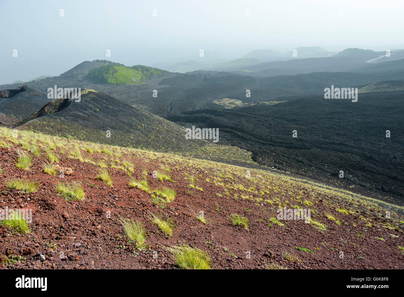 Italy, Sicily, Mount Etna, volcanic crater, lava fields - Stock Image