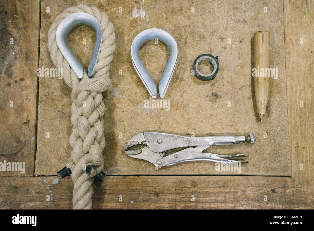 Espartero tools needed to make a rope - Stock Image