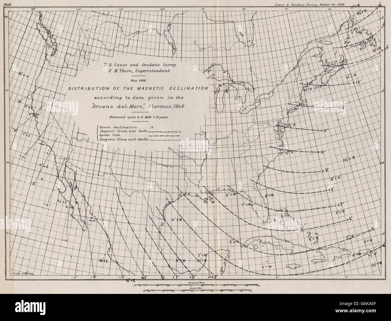 usa magnetic declination 1630 arcano del mare isogonic lines uscgs 1889